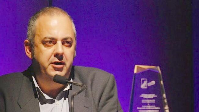 Emilio Silva, durante su intervención en la entrega del premio ALBA/PUFFIN en Nueva York. (Foto: Len Tsou)