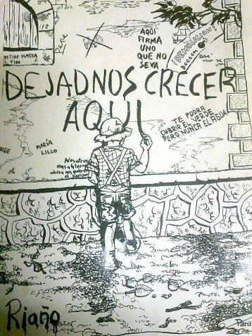 Imagen de una de las pegatinas distribuidas en su día para evitar la demolición de Riaño.